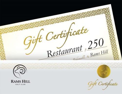 Gift Certificate Restaurant $250