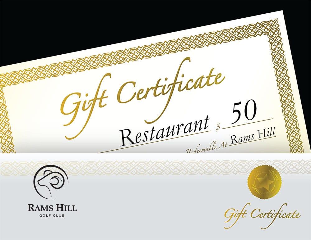 Gift Certificate Restaurant $50