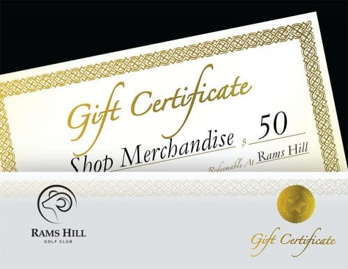 Gift Certificate Pro Shop $50