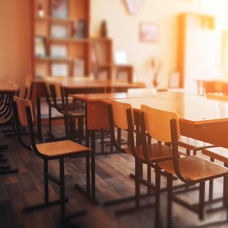 desks in a borrego springs classroom
