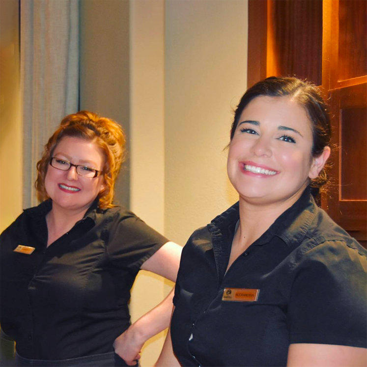 rams hill female employees smiling