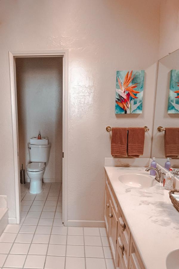 main native desert sun master bathroom with sinks