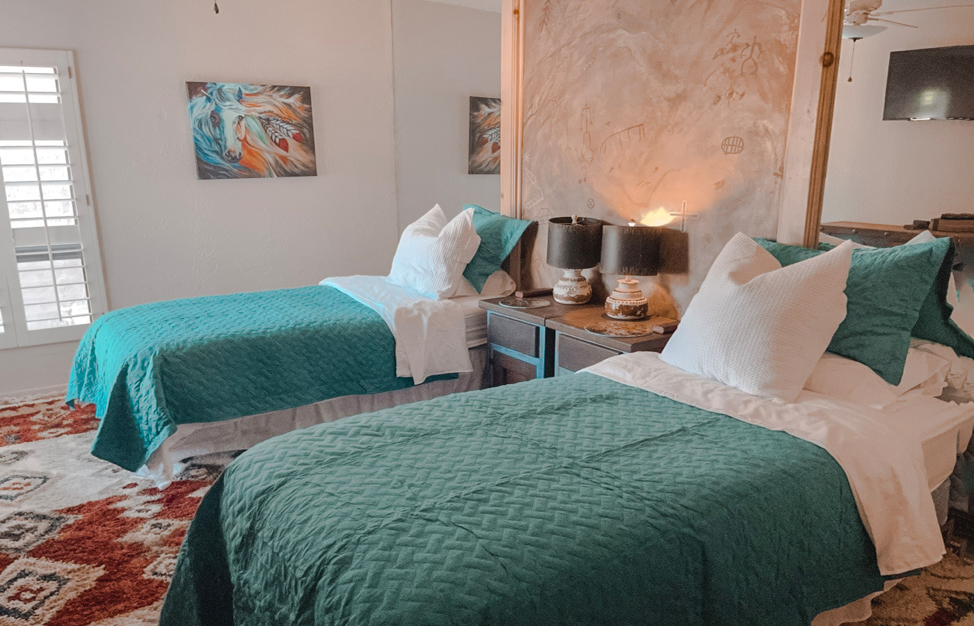 two beds in the native desert sun Rams Hill rental property