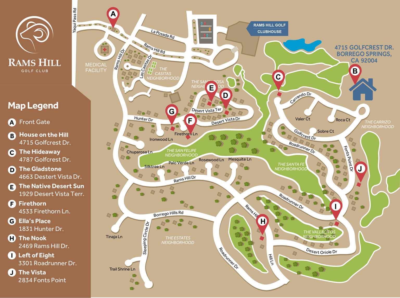 Rams Hill Golf Houses Directions and Map