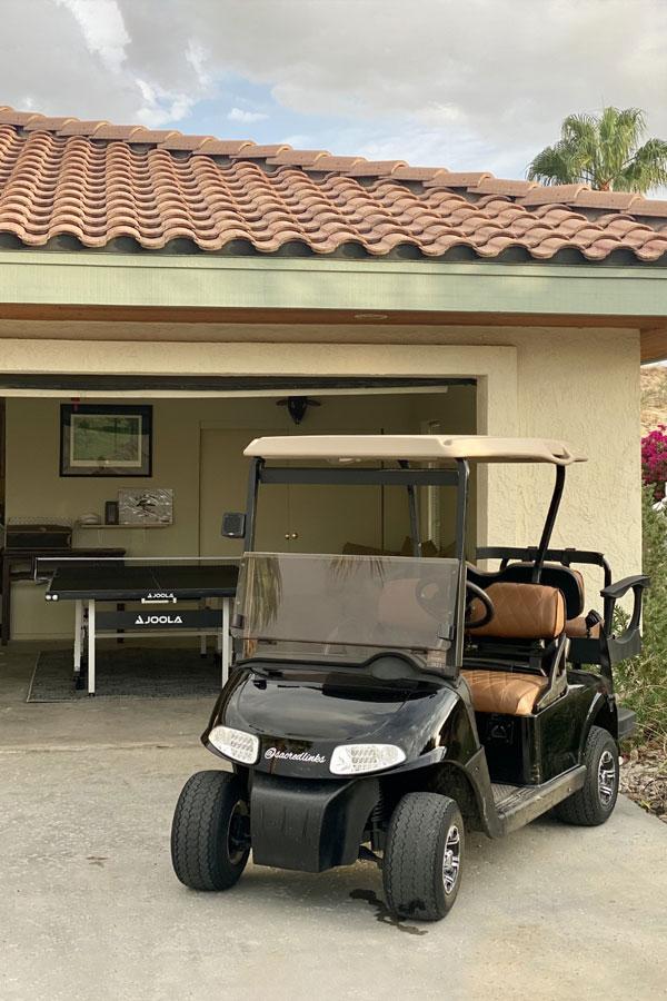 Left8 Golf Cart near Garage at Rams Hill Golf House