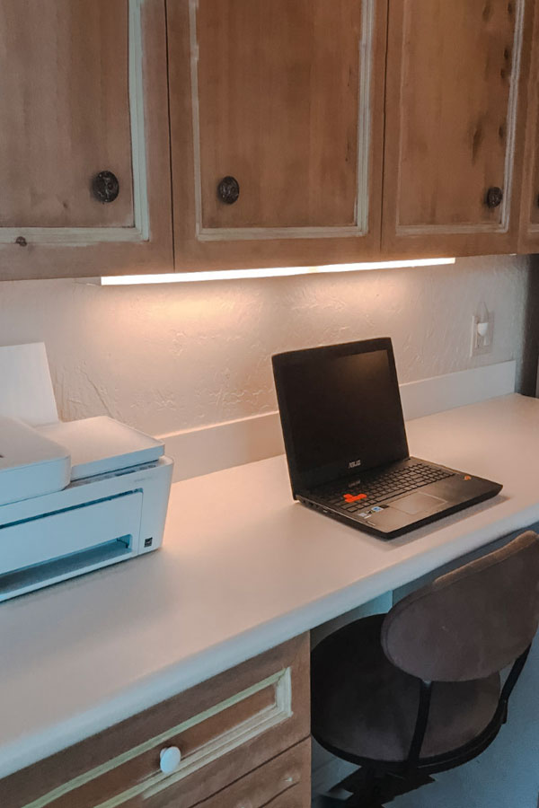 native desert sun desk area in kitchen